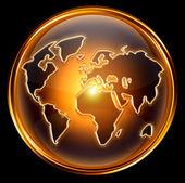 Globe icon gold, isolated on black background — Stock Photo