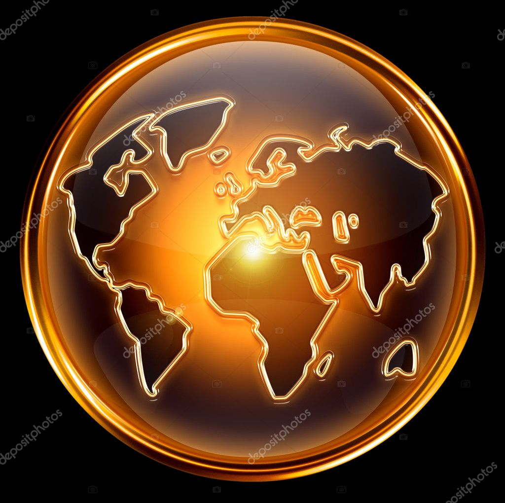 Globe icon gold, isolated on black background — Stock Photo #5388642