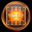 Video icon gold, isolated on black background — Stock Photo