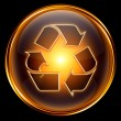 Recycling symbol icon gold, isolated on black background. — Stock Photo