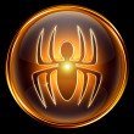 Virus icon golden, isolated on black background. — Stock Photo