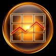 Graph icon golden, isolated on black background — Stock Photo