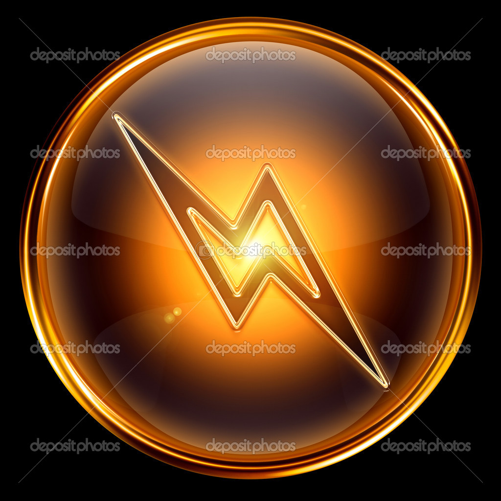 Lightning icon golden, isolated on black background. — Stock Photo #5727072