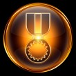 Medal icon golden, isolated on black background. — Foto Stock
