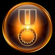 Medal icon golden, isolated on black background. — Stock Photo