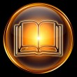 Book icon golden, isolated on black background. — Stock Photo