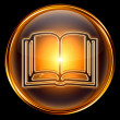 Book icon golden, isolated on black background. — Zdjęcie stockowe