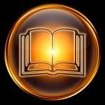 icona del libro d'oro, isolato su sfondo nero — Foto Stock