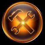 Tools icon golden, isolated on black background — Stock Photo