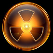 Royalty-Free Stock Photo: Radioactive icon golden, isolated on black background.