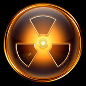 Radioactive icon golden, isolated on black background. — Stock Photo