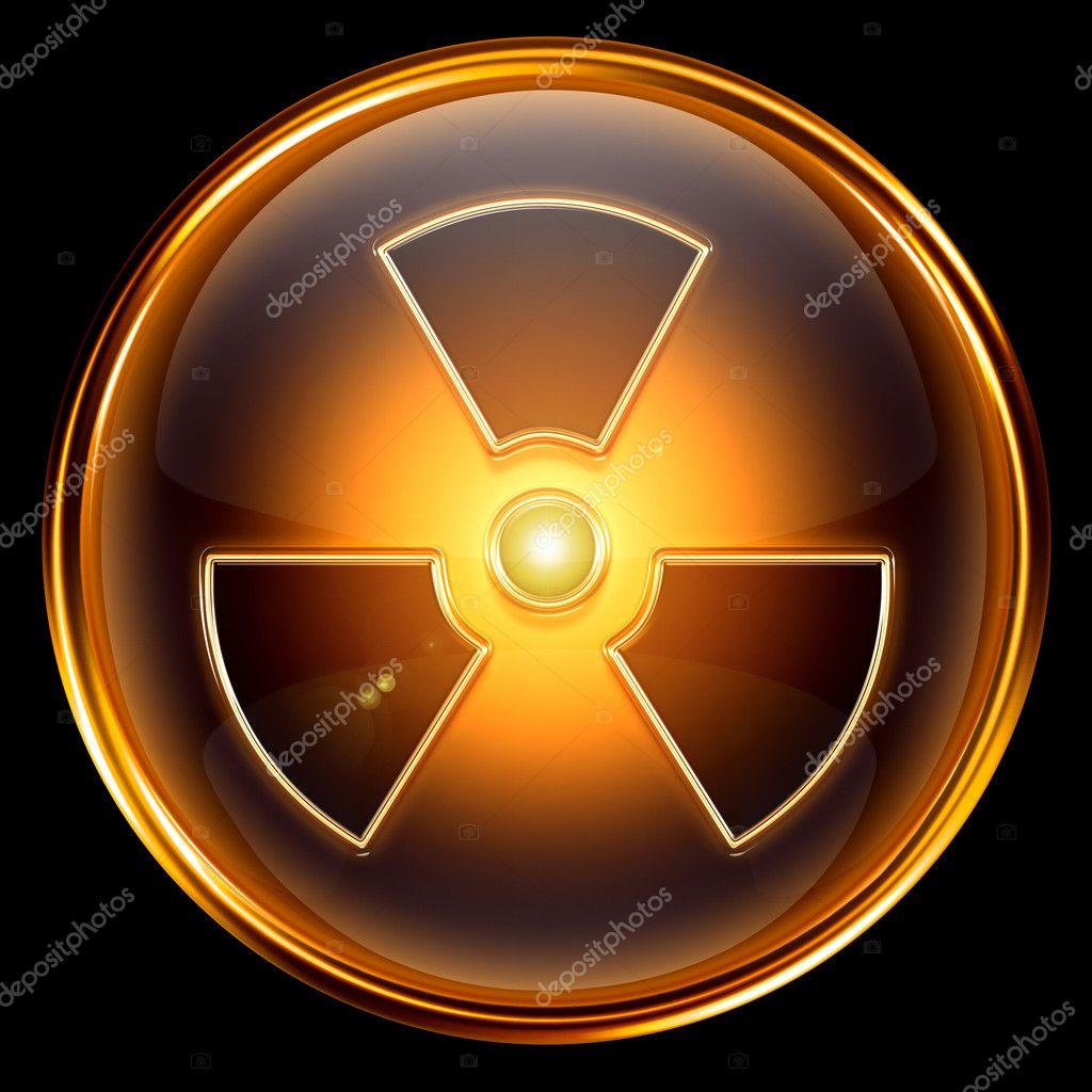 Radioactive icon golden, isolated on black background.  Stock Photo #5814761