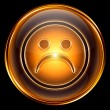 Smiley dissatisfied icon golden, isolated on black background. — Foto Stock
