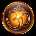 Om Symbol icon golden, isolated on black background. — Stock Photo
