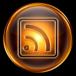 WI-FI icon golden, isolated on black background. — Stock Photo