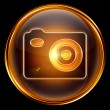 Camera icon golden, isolated on black background. — Stockfoto
