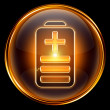 Battery icon golden, isolated on black background — Stock Photo