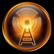 WI-FI icon golden, isolated on black background. — 图库照片