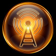 Stock Photo: WI-FI icon golden, isolated on black background.