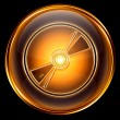 Compact Disc icon golden, isolated on black background. — Stock Photo