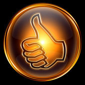 Thumb up icon golden, isolated on black background — Stock Photo