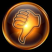 Thumb down icon golden — Stock Photo