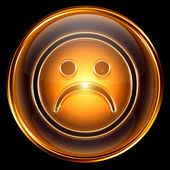 Smiley dissatisfied icon golden, isolated on black background. — Stock Photo
