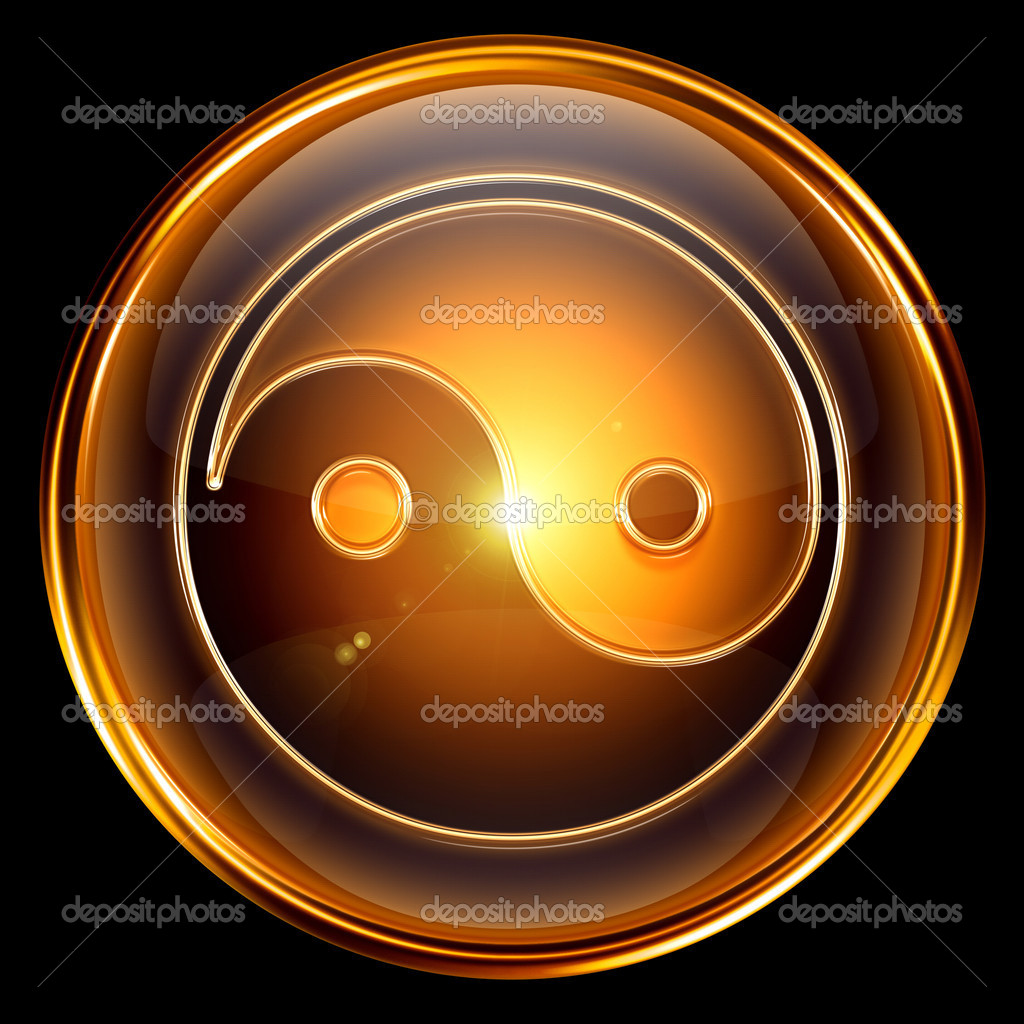 Yin yang symbol icon golden, isolated on black background.  Stock Photo #5939234