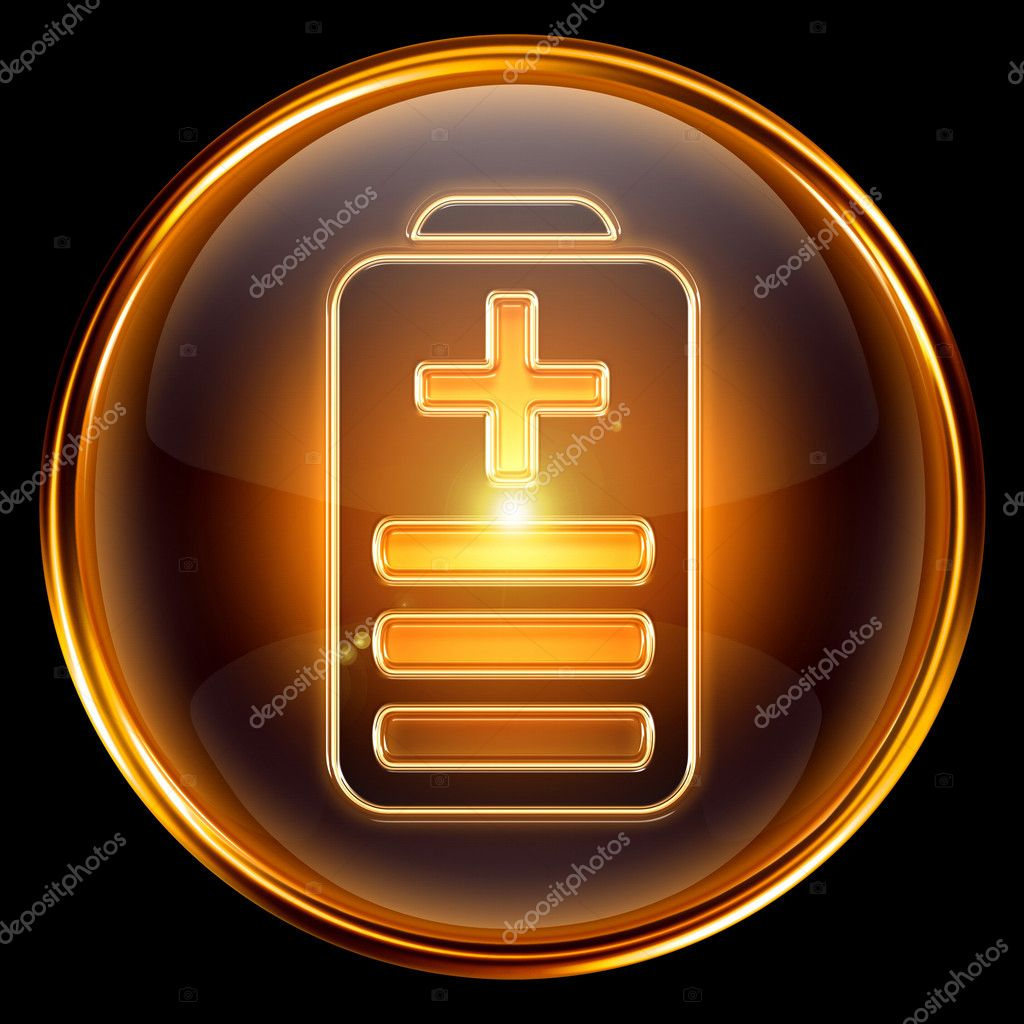 Battery icon golden, isolated on black background — Stock Photo #5939258