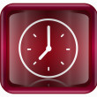 Stock Photo: Clock icon red