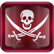 Royalty-Free Stock Photo: Pirate icon red, isolated on white backround