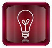電球アイコン暗い赤、白の背景に分離 — ストック写真