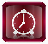 Clock icon dark red, isolated on white background — Stock Photo