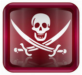 Pirate icon red, isolated on white backround — Stock Photo