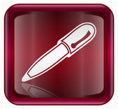 Pen icon red, isolated on white background — Stock Photo