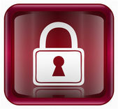 Lock icon red, isolated on white background — Stock Photo
