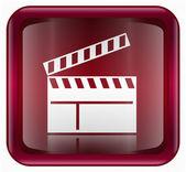 Film clapper panosu simgesi kırmızı — Stok fotoğraf