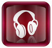 Headphones icon red — Stock Photo