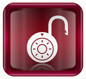 Lock on icon red — Stock Photo