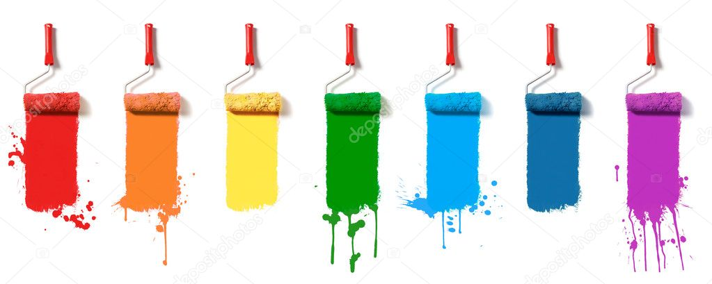 Roller brushes with seven colors paint — Stock Photo #6408328