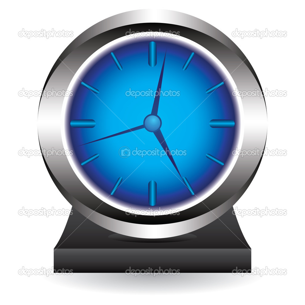 Big clock on a support — Stock Vector #6363927