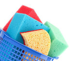 Brightly colored sponges on white background — Stock Photo