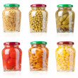 Glass jars with tinned vegetables — Stock Photo #5903601