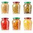 Stock Photo: Glass jars with tinned vegetables