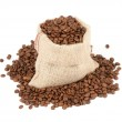 Coffee beans in canvas sack on white background — Stock Photo