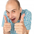 Crazy man showing his thumb up — Stock Photo