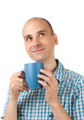 Portrait of a young man drinking coffee — Stock fotografie