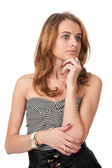 Young blond woman thinking looking away — Stock Photo