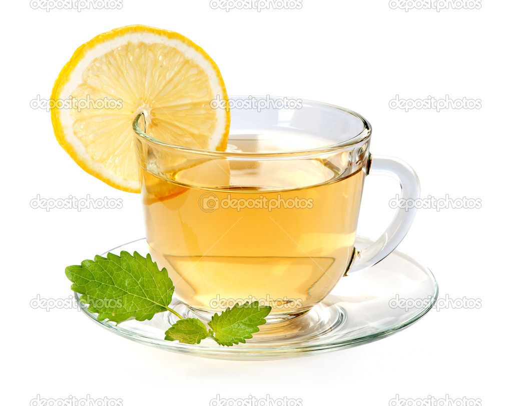 Glass cup of tea with lemon and leaf mint — Stock Photo ...