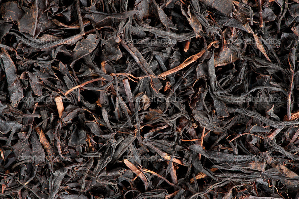 Dry black tea leaves closeup — Stock Photo #6233376